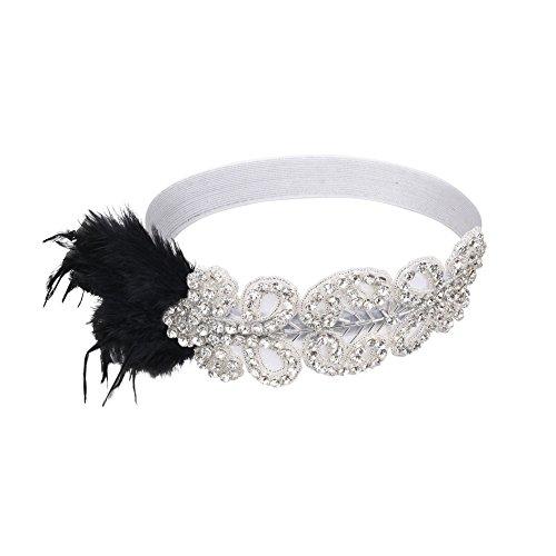PrettyGuide Damen 1920er Flapper Kopfstück Perlen Feder Stirnband Gatsby Kopfschmuck Silber