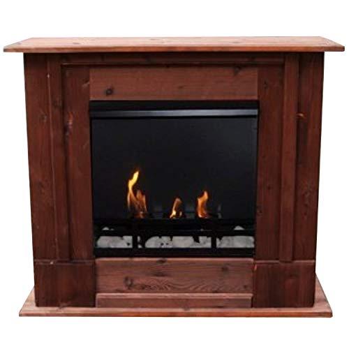 Chimenea Rafael caoba marrón/con Bio-etanol y Gel de fuego