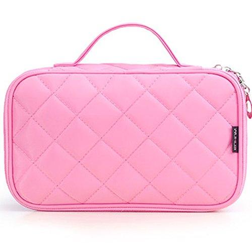 FYX Make-up-Tasche Multifunktionale Handtasche Make Up Organizer Kosmetiktasche für Kosmetik Aufbewahrung von Höher Quilität für Reise und zu Hause (Pink) -