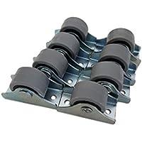 Rueda de goma de 25 mm de plástico giratoria doble ruedas metálicas con placa muebles electrodomésticos y equipo pequeño mini ruedas Set