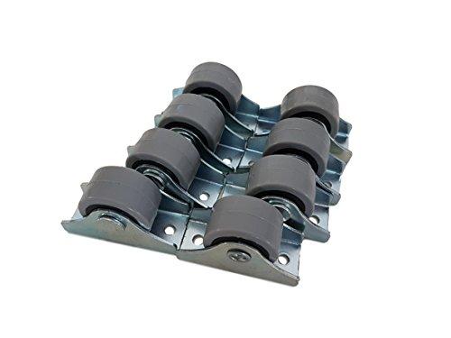 (Packung mit 8 Stück) 25 mm Gummirollen-Set aus Kunststoff, drehbar, Doppelrollen, Metall mit Platte, für Möbel, Geräte & Ausrüstung, kleine Mini-Rollen