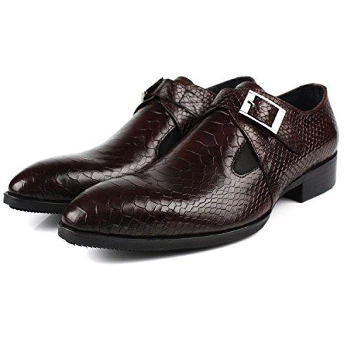 GRRONG Scarpe In Pelle Da Uomo Tempo Libero Vera Pelle Abbigliamento Formale Brown