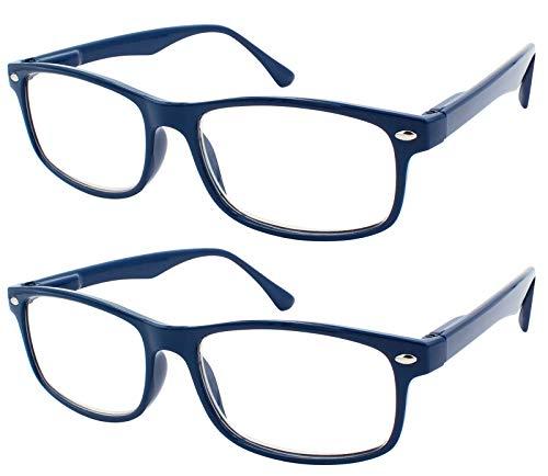 TBOC Gafas de Lectura Presbicia Vista Cansada - (Pack 2 Unidades) Graduadas +2.00 Dioptrías Montura de Pasta Azul Diseño Moda Hombre Mujer Unisex Lentes de Aumento para Leer Ver de Cerca