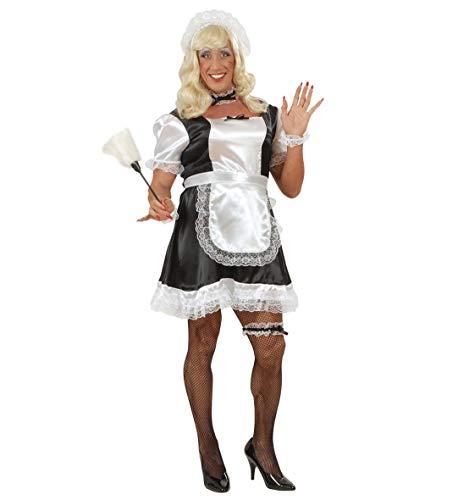Kostüm Teufel Kleid - Party-Teufel Komplett Kostüm Zimmermädchen mit Kleid Schürze Haube Strumpfband Fischnetz-Strumpfhose Blonde Perücke Staubwedel Männer Einheitsgröße Drag Queen Junggesellenabschied