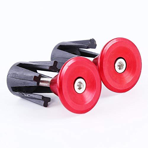 SEVENHOPE 1 para Fahrrad Lenkerendstopfen MTB Rennrad Radfahren Aluminium Lenkergriffe Hohe Qualität Griff Bar Cap Stopper (rot) Rot-stopper
