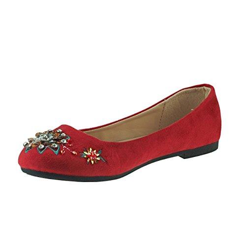 Fashion4Young Damen Ballerinas Damenschuhe Textil Kunstleder Schmucksteine Rot