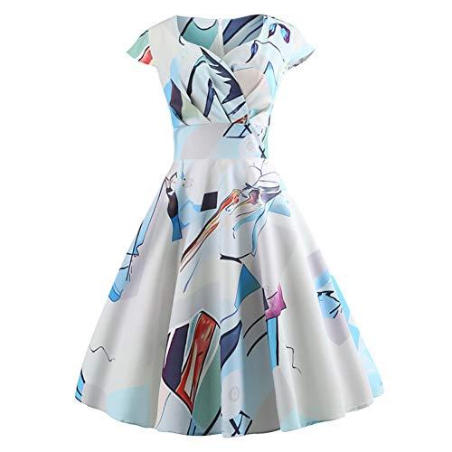 LKJH Strandkleid Damen Täglich Ausgehen Schlankes Swing-Kleid - Color Block Print Schatz-Ausschnitt Frühling Baumwolle Hellblau