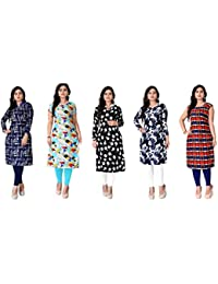 Kesari King Women's Crepe Semi-stitched Salwar Suit (Pack of 5) (1023,24,25,52,40)