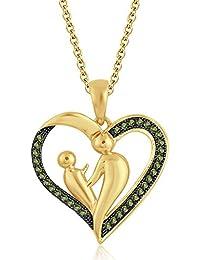 Silvernshine 18K Yellow Gold Over Peridot Sim Diamond Accent Mother & Child Heart Pendant Necklace