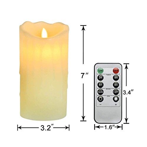 Newcomdigi Vela de LED Decorativa Vela Electrica Sin Llama con Temporizador y Mando a Distancia Vela LED de Cera Real con Remoto Control, 7 Pulgadas