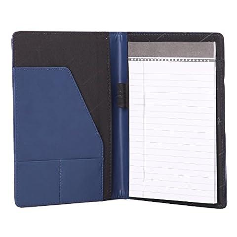 Leathario A5 Schreibmappe Portfolio Dokumenten-Mappe Konferenzmappe A5, inkl. Schreibblock, Blau