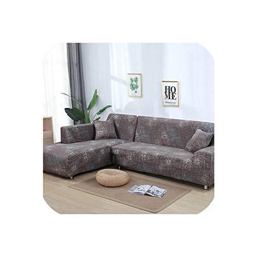 Happy Towns Sofahusse, L-förmig, elastisch, Blau, für Wohnzimmer, Copridivano Couchbezug, Sofakissenbezüge für Sessel 1-4 Sitzer, Farbe 18, 2 Stück -