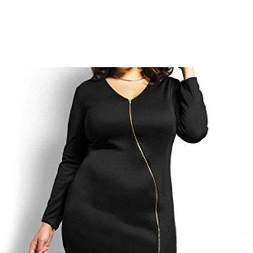 Erica Femmes Plus Size Casual / Sorties / Party V Neck robe asymétrique, manches longues Black