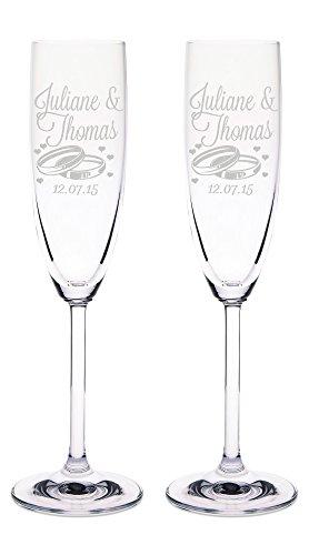 Leonardo Sektgläser mit Gravur von Namen & Datum im - Wedding Design - als Geschenk zur Hochzeit, Verlobung oder zum Jahrestag - Personalisiert mit Wunschgravur - das perfekte Hochzeitsgeschenk