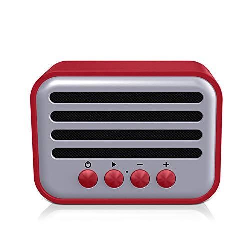 WHQ Bluetooth Lautsprecher Retro Design Ultra Mini FM Radio Retro Vintage TWS Tasche Portable Mp3,Rot (Rot 10 Subwoofer)