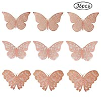 nuoshen 36 Pcs Butterfly Wall Stickers, 3D Butterfly Wall Stickers DIY Art Decor 3D Wall Decals for Home, Bathroom, Party Decoration