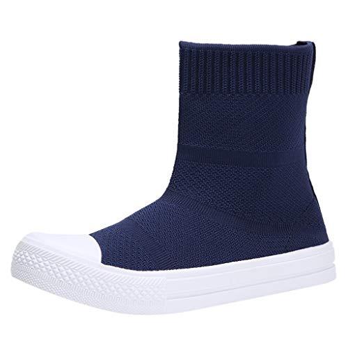 Sportschuhe High Top Damen Slip-On Sport Stiefeletten Schlupfstiefel Atmungsaktive Socken Elastizität Laufschuhe Fliegendes Weben Sneaker Mesh Freizeitschuhe Weicher Boden Turnschuhe, Blau, 39 EU