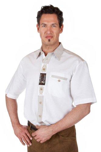 orbis Textil H073 - Trachten Herren Hemd mit weiß 1/2-Arm Größe S