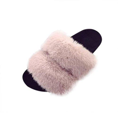 VENMO Damen Slipper Womens Flat Rutschfeste Weiche Flauschige PU Faux Pelz Flache Slipper Flip Flop Sandale (Size 38, Pink) (Flats Faux Leder)