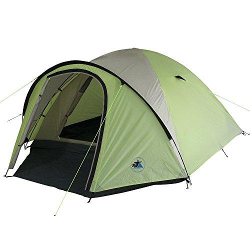 10T Scone 4 Lime - 4 Personen Kueppelzelt, Campingzelt mit 5000 mm Wassersäule, wasserdichtes Trekking-Zelt, Festivalzelt inkl. Vorraum-Bodenplane, Familienzelt mit Schlafkabine, Igluzelt mit Tragetasche, Zeltheringe und Gestänge