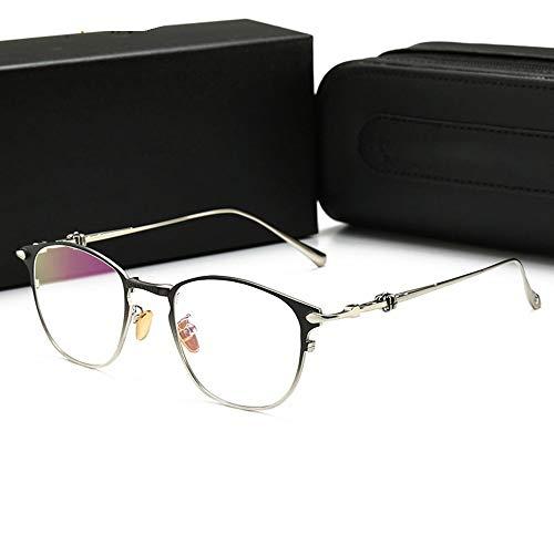 FORTINGBAR Herren/Damen Retro Optische Brillen, Computer Blu-ray Brillen Rahmenmaterial: Metall (Farbe : Black Silver Frame)