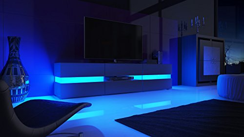 TV Board Lowboard Flow, Korpus in Weiß matt / Front in Weiß Hochglanz inkl. LED Beleuchtung . - 5