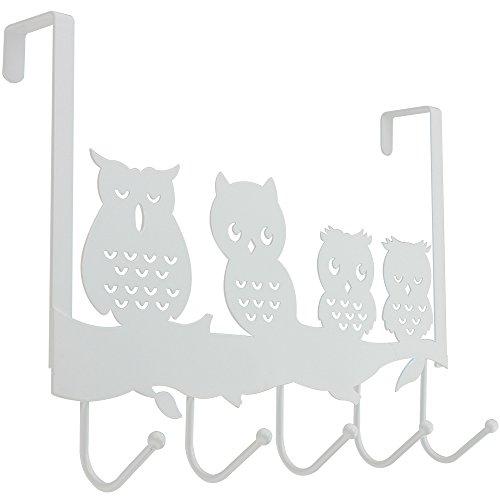 COM-FOUR® Türhängeleiste Eule mit 5 Haken aus Metall