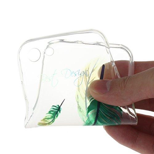 """Für iPhone 7 4.7"""" [Scratch-Resistant] Weichem Handytasche Weich Flexibel Silikon Hülle,Für iPhone 7 4.7"""" TPU Hülle Back Cover Schutzhülle Silikon Crystal Kirstall Durchschauen Clear Case,Funyye Ultra  Grüne Feder"""