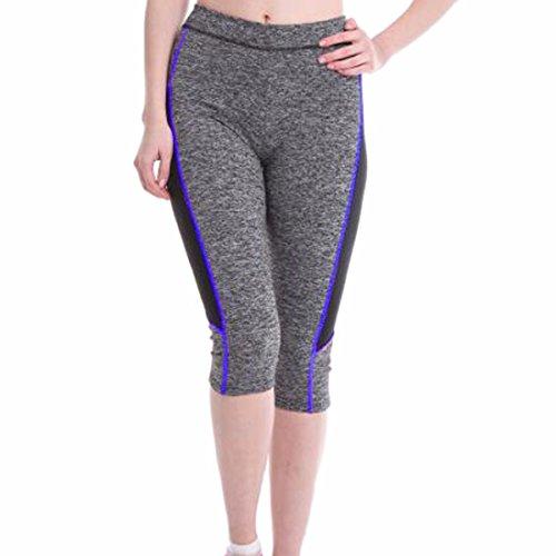 QIYUN.Z Les Femmes Yoga Gym Fitness Taille Haute Pantalon Capri Leggings Serres Le Sport De Jogging Saphir