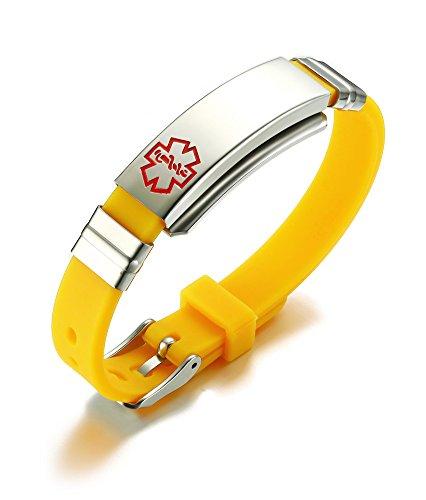 VNOX Freie gravierte Edelstahl Silikon Medical Alert ID SOS Verstellbare Armband für Männer Frauen Gelb