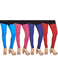 CAY 100% Cotton Combo of Red, Blue, SkyBlue and Baby Pink Color Plain, Stylish & Most Comfortable Leggings For Girls & Women with Full Length (SIZE : Free Size)