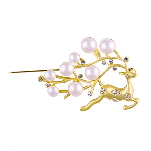 Adisaer Damen Brosche Vergoldet Sika Hirsch Kristall Weiß Elche Hörner mit Weiß Perlen Broschen Gold (Maske Gold Fledermaus)
