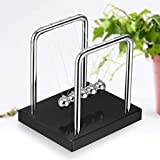 OHELIGO Newtons Swing Cradle Pendulum Physics Balance Ball Toy With 5 Stainless Steel Balls And Frame With Wooden Base Black