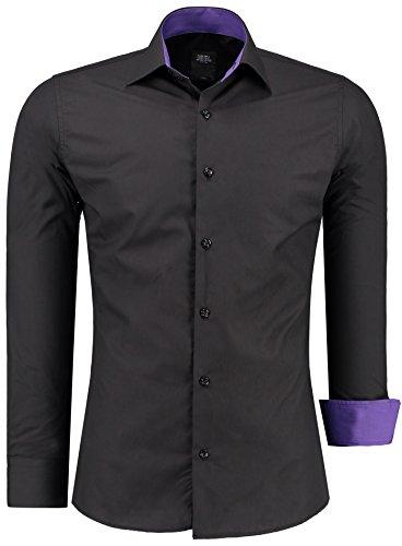 Herren Hemd Hemden Bügelleicht Business Hochzeit Freizeit Slim Fit S M L XL XXL, Farbe:Schwarz/Lila;Größe:S