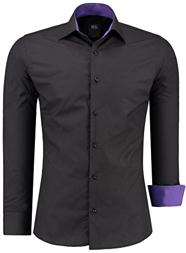Camisa para hombre de manga larga Jeel para negocios, ocio, bodas, fácil de planchar, corte estrecho, negro/lila