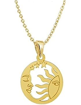 GH1a Sonne Mond & Sterne ANHÄNGER mit KETTE 925 Echt Silber + 24K Vergoldet