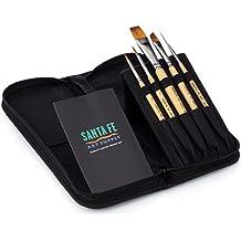 Santa Fe Art Supply Best Quality Artist Paintbrush Travel Set. Acrylic Oil Watercolor & Face Paint. Professional Short Handle Paint Brushes. Bamboo Wood! #1 Best Seller