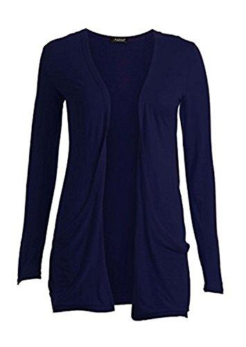 WearAll Damen Strickjacke Strickjacke Schwarz * One Size Gr. XX-Large 46-48, Marineblau