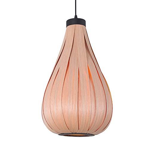 WJ Furnier Pendelleuchte, Südostasien Holz Leuchter E27 Kreative Weaving Gourd Lampenschirm Hand aus Holz Hängeleuchten Dekor für Cafe Bar Halle Esszimmer Deckenleuchten -
