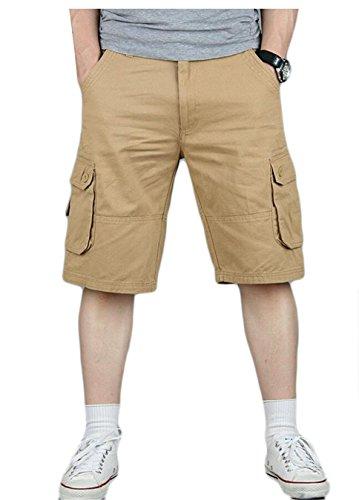Gocgt Men Loose Fit Leisure Multiple Pockets Army Outdoor Cargo Pants Short Pants