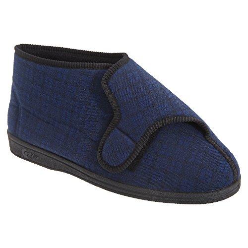 Comfylux Herren Gerry Hausschuhe / Pantoffeln mit Klettverschluss, besonders weit Marineblau