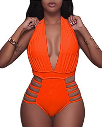 eiliger Badeanzug für Damen, tiefer V-Ausschnitt, hohe Beinausschnitte, Monokini - Orange - X-Large(US 16) ()
