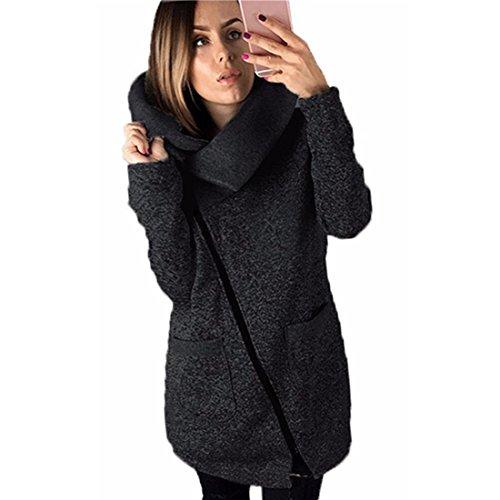 Sannysis Frauen Winter Warm Casual Hoodies Lange Reißverschluss Kapuzenpullover Jacke Mäntel (S, Dunkelgrau)