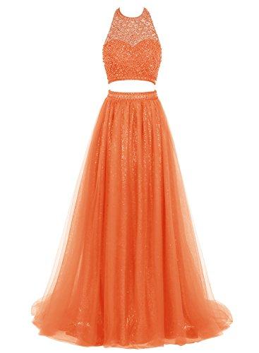 Bbonlinedress Robe de Soirée et de Bal emperlée A-line sans manches deux pièces dos nu longueur ras du sol en tulle Orange