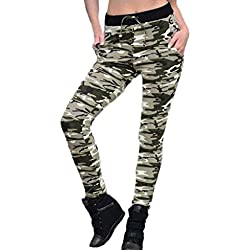 Tongshi Fitness polainas camuflaje mujer elastizada Yoga gimnasio de deportes pantalones (Verde, S)