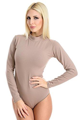 Evoni Damenbody | Thermo Overall Bodysuit mit Halbkragen für Frauen | Langarm-Body in Hellbraun für den Winter | Gr. XXL | Optimale Alternative für Sport & Freizeit | Warmer Jumpsuit
