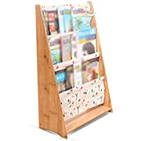 GAOQQI-Sling Bookshelf Book Shelf Floor-standing Wooden Multi-layer Wear Resistant Stable Magazine Newspaper School Bedroom (Color : A, Size : 52X25X80CM)