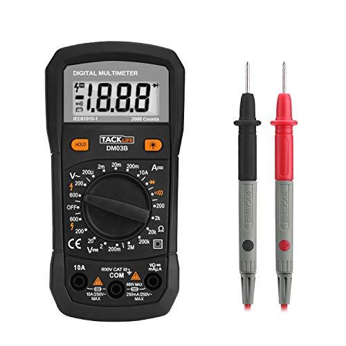 Multimeter Digital Tacklife DM03B Batterietester Diode Durchgangsprüfer mit Hintergrundbeleuchtung Daten Halten Funktion Spannungsmesser Stromprüfer Widerstandsmessgerät Voltmeter Ohmmeter Amperemeter