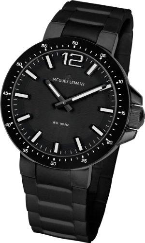 Jacques Lemans - 1-1709O - Montre Mixte - Quartz Analogique - Bracelet Silicone Noir