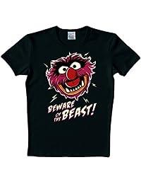 LOGOSH! tHE muppet show rT rétro motif comic t-shirt pour homme bEWARE oF tHE bEAST-noir-taille l (l140)